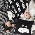 Детские одеяла новорожденных супер мягкого флиса детское одеяло пеленать Черный Белый Крест Кролик дети постельные принадлежности диван одеяло бросить одеяло