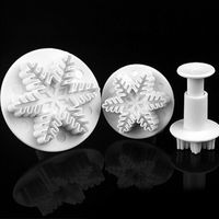 5pcs/set Snowflake Leaf Craft Sugarcraft smooth Decoration Fondant Icing Plunger Cake Cutters Cookie Tools FDA
