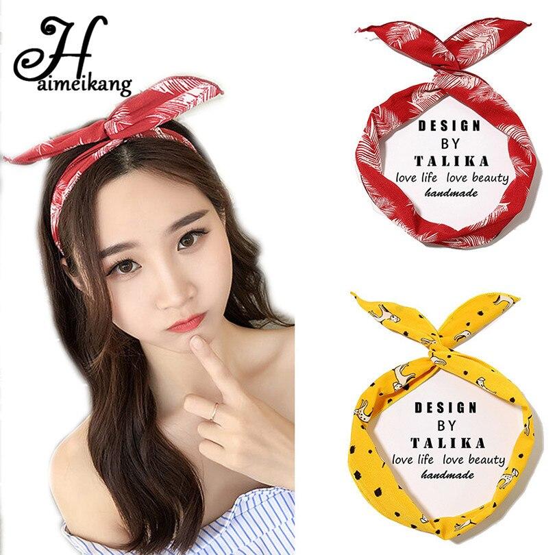 Haimeikang Cute Girl Cross Knot DIY Hair Bands Printing Chiffon Flower  Women Turban Headbands Rabbit Ear Hairband Headwear 7c11ec37256