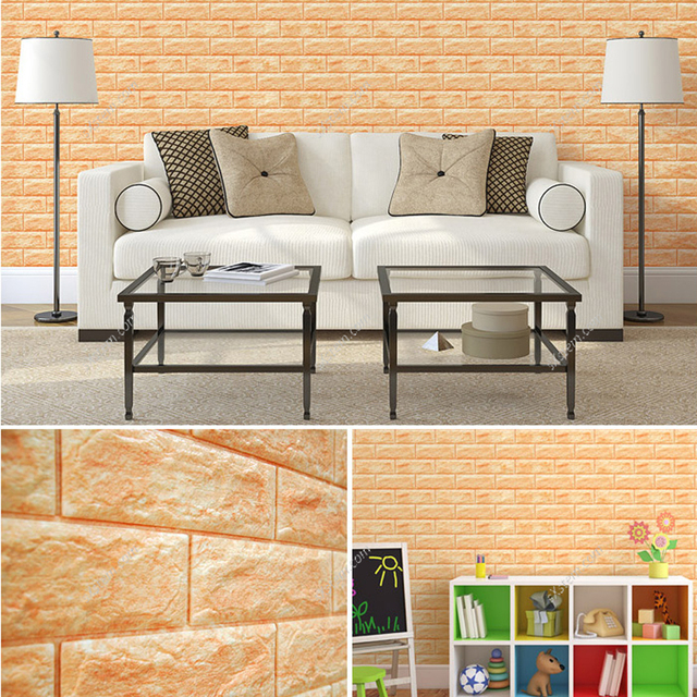 yazi Yellow 3D Thicken Embossed Bricks Seft Adhesive Wall Tile Art ...