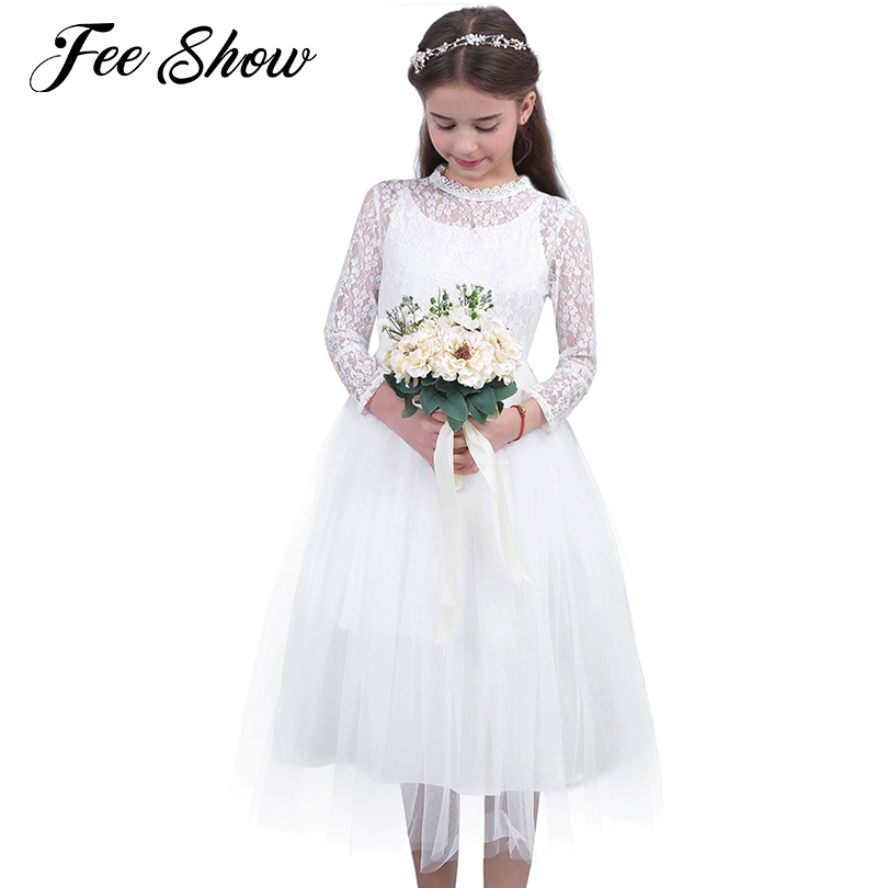 Fashion Flower Girl Dress with Long Sleeve for Wedding Little Girls Kids Lace Dress Birthday Party Pageant First Communion Dress 2018 new summer long elegant white flower girls dress kids baby teenagers first communion pageant girl wedding party dresses