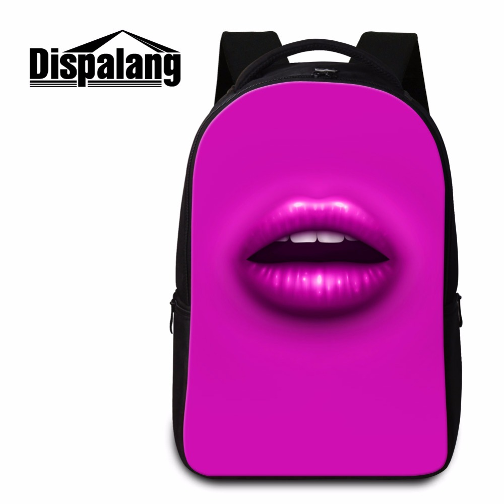 Dispalang fashion women sexy red lips backpacks solid school bag for laptop  teenager student back pack 91bf503c28