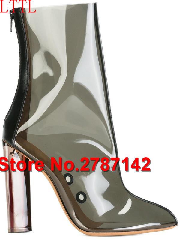 Plastica donna stivaletti scarpe a punta tacco di cristallo scarpe ... 3e433406bbd