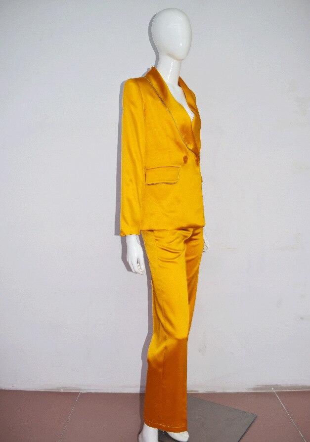 Deux Pièces Col Mode Costume Pleine Pantalon Unique Deat Boutons Vêtements Wb57407l Ol Longueur Nouveau Turn 2018 Femmes down Yellow Automne qqzZSt8a