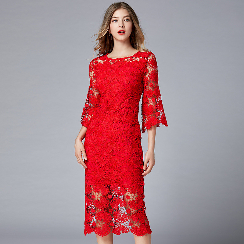 2019 High Quality Hollow Lace Sexy Long Dresses Plus Size