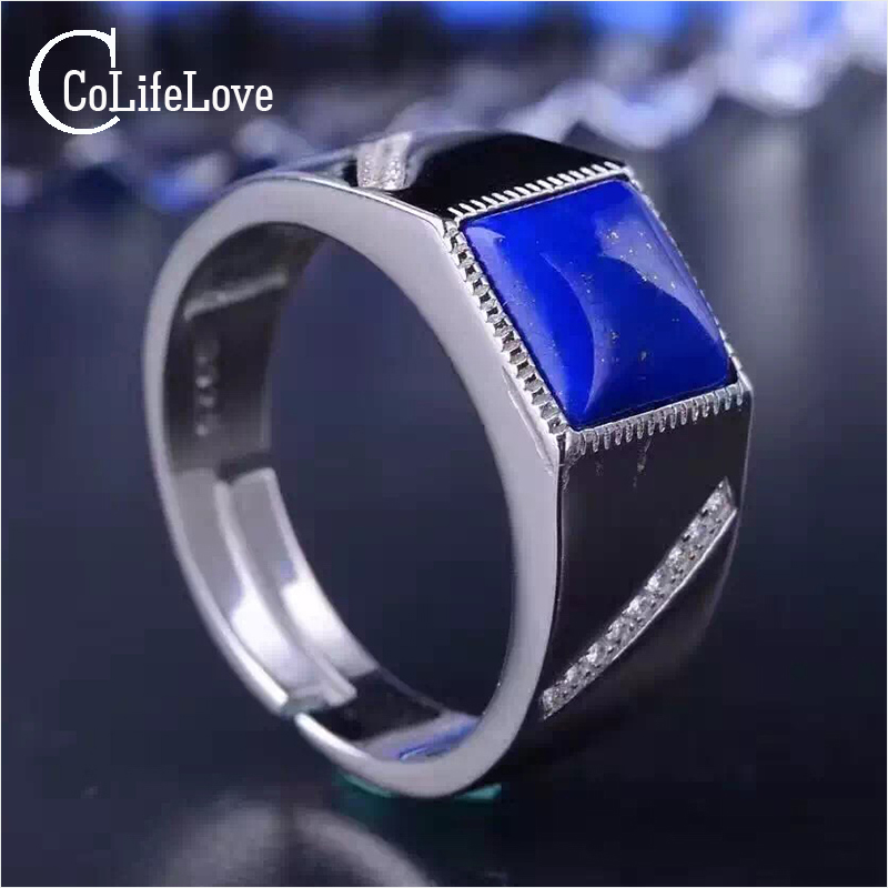 2017 new fashion lapis lazuli ring for man natural 8mm*8mm blue lapis lazuli solid 925 sterling silver man ring mens solid 925 sterling silver 8mm rope ring