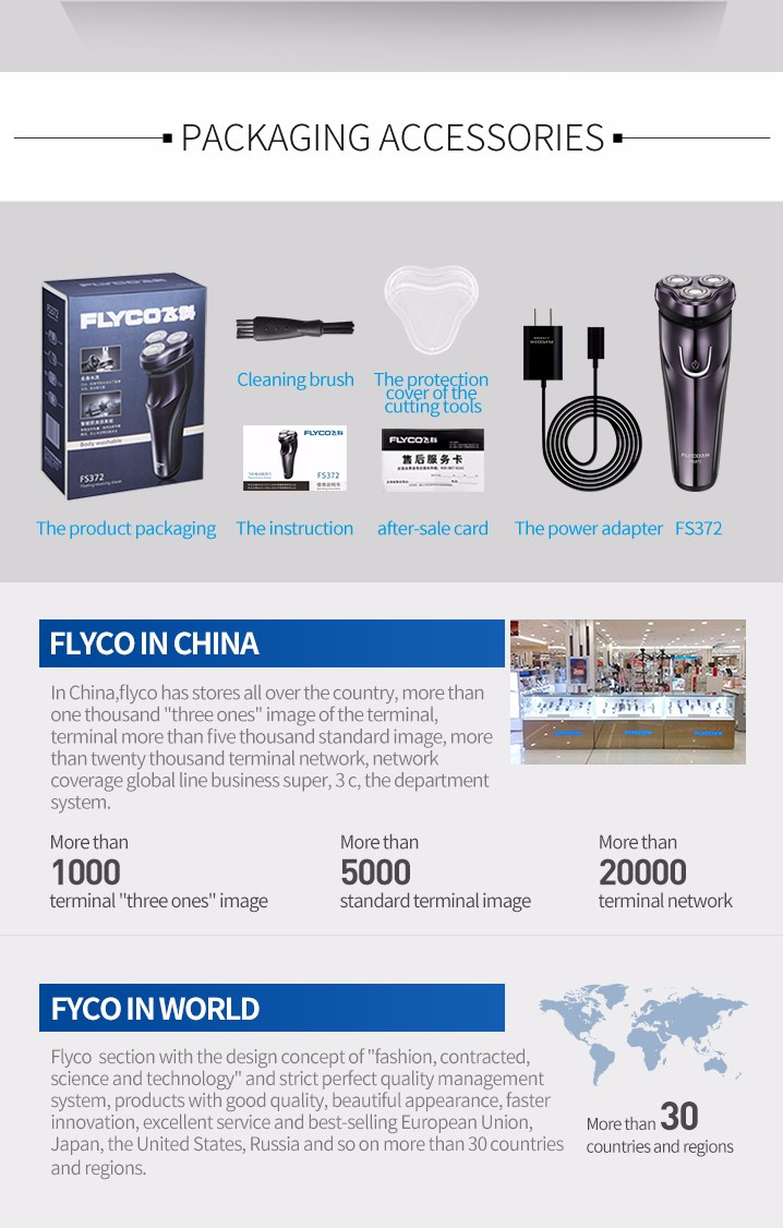 FLyco Professional Body Washable Electric Shaver for Men lasting 45 Minutes Rechargeable Electric razor 3D Floating HeadS FS372 19