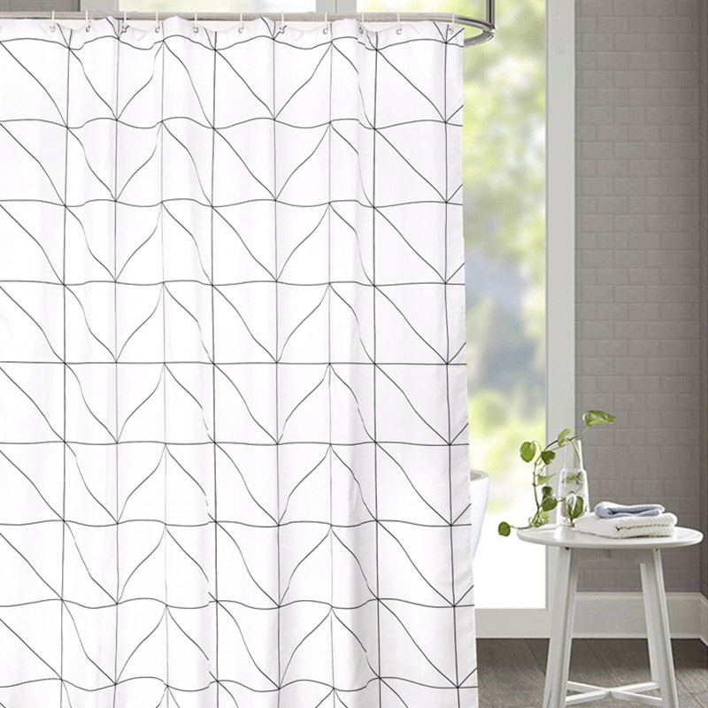 Fashion White Grid Print Blinds Curtains For Bathroom Variety Size Polyester Bath Curtain Waterproof Shower Home Decor In From