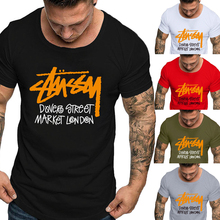 Special offer European code foreign trade cotton mens printing solid color round neck T-shirt men