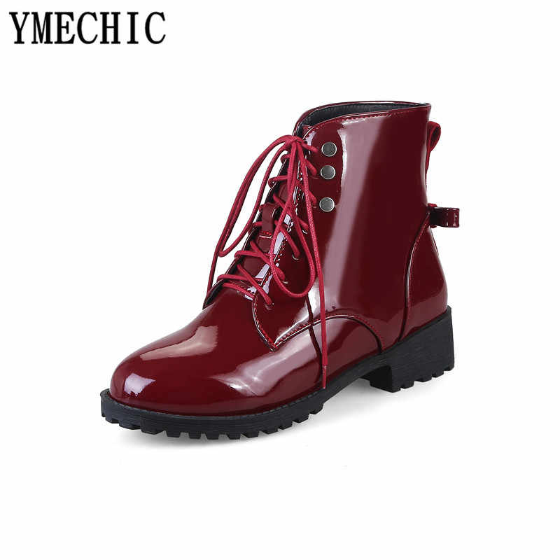 ... YMECHIC Woman Lace Up Ankle Motorcycle Boots Chunky Med Heels Pu Patent  Leather Blue Green Ladies ... fe4c42409664