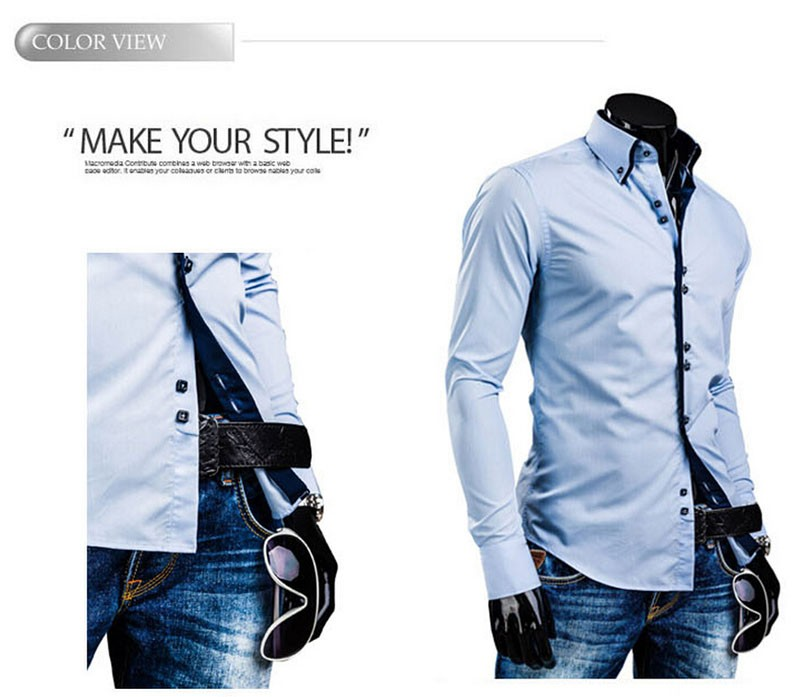 4509c7ac05a XXXL 2015 Cotton Dark Blue Long Sleeve Dress Shirts Men New Arrival ...