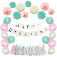 Birthday Party Background Backdrops Decorative Set DIY Colored Sweet Paper Flower Ball Tassel 1st Happy Birthday