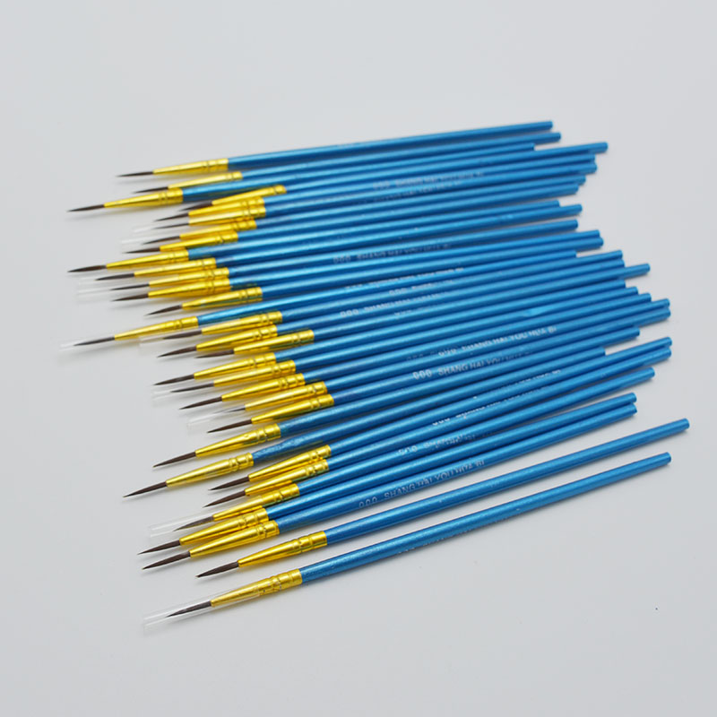 10 Pcs Fine Hand Painted Thin Hook Line Pen Blue Art Supplies Drawing Art Pen Paint Brush Nylon Brush Painting Pen Stationery