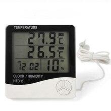 Novo HTC-2 digital lcd indoor outdoor termômetro higrômetro c/f medidor de umidade temperatura despertador com sensor