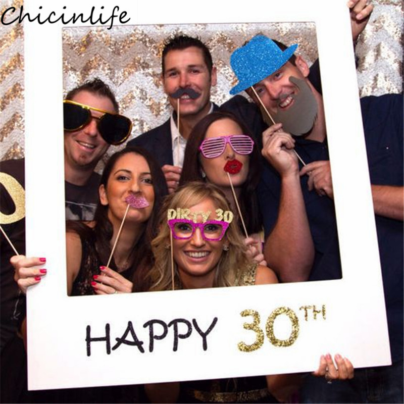 Chicinlife 1pcs Happy 30th Photo Props Paper Photo Frame 30 Years Old Birthday Party Adult Anniversary Decoration Supplies