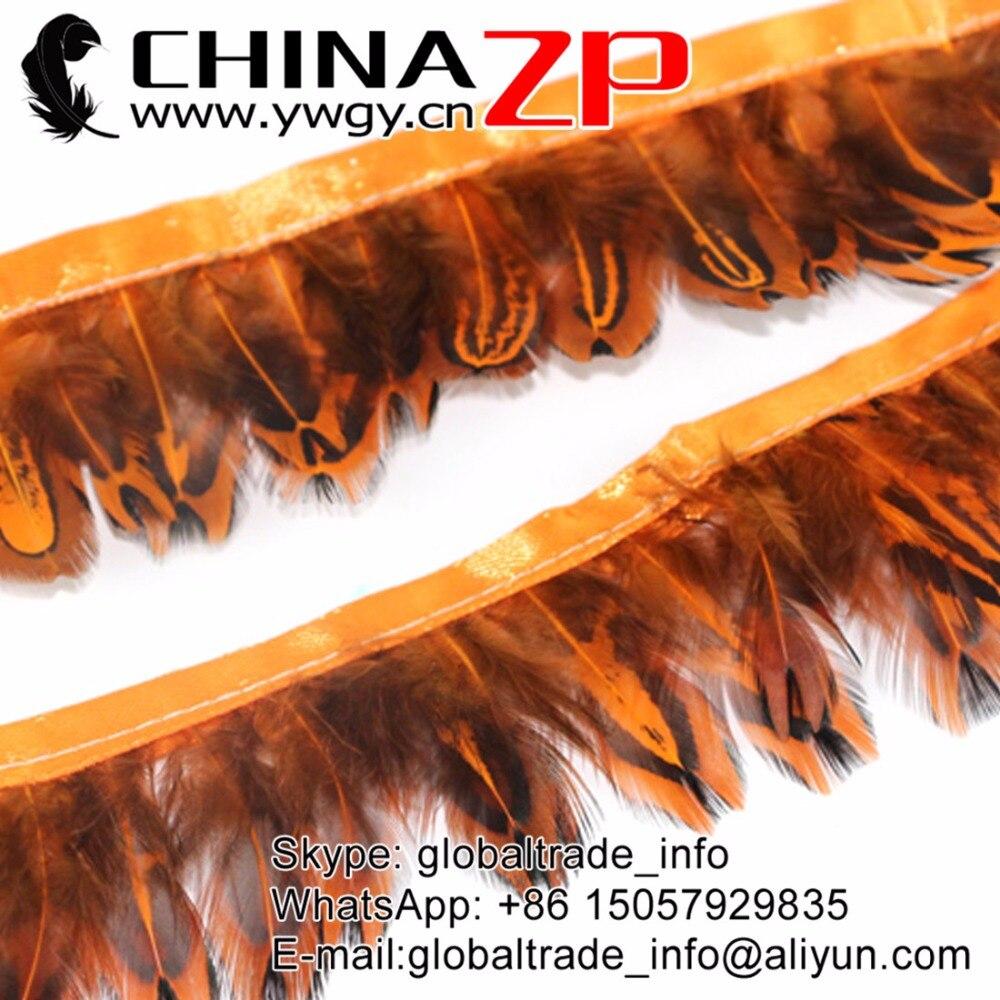ORANGE BRONZE Rooster Coque Feather Fringe Ribbon Trim Price for 30cm DIY Craft