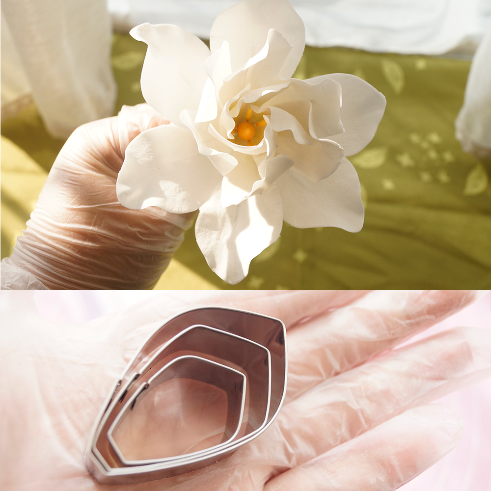 Mijiang Stainless Steel Gardenia Bunga Petal Cake Tools Fondant Cookie Cutters Wedding Cake Decorations Pastry baking Mold A366