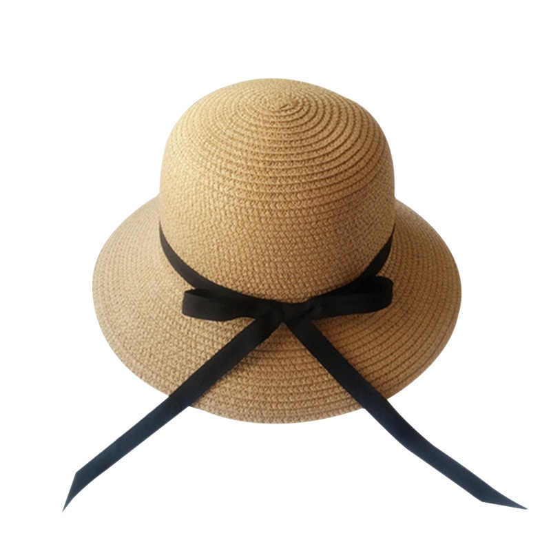 e5f35e8777b ... Straw Hat For Women Summer Casual Wide Brim Sun Cap With Bow-knot ribbon  Ladies ...