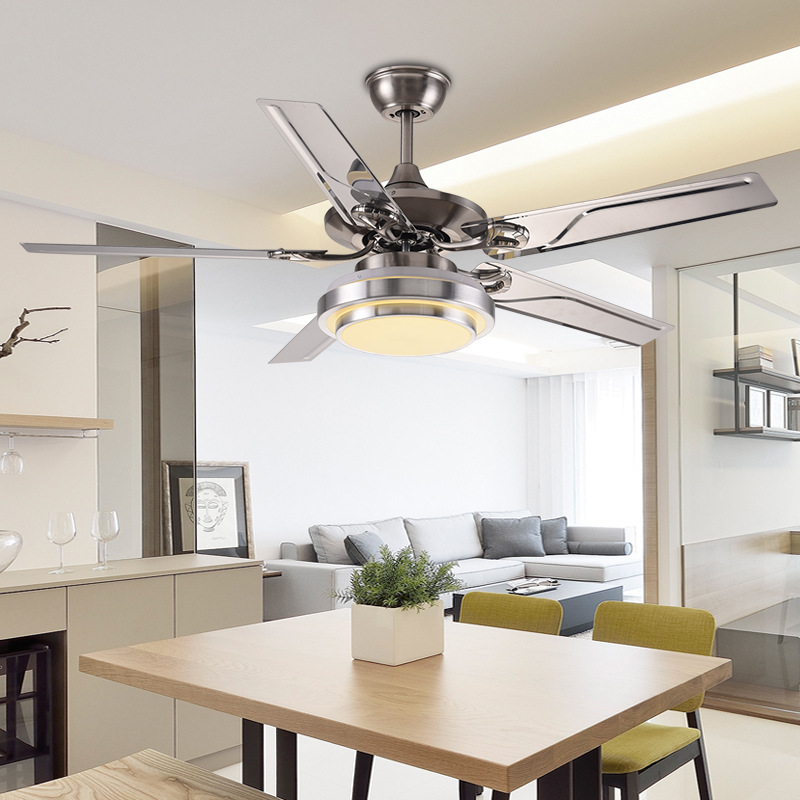 42 Inch Stainless Steel Ceiling Fan LED Lamp 4 Leaves
