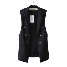 Tengo Fashion Long Women Vest Jacket Sleeveless Blazer Quilted Vests Female Brand Veste Button Vest Outwear Suit Jacket