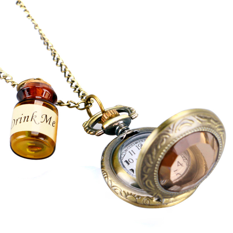 Vintage Glass Alice In Wonderland with Cute Drink Me Bottle Dark Brown Quartz Pocket Watch for Women Lady Girl Unique Gifts (3)