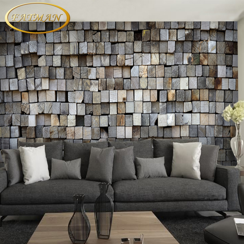 Custom 3d photo wallpaper brick wall wallpaper mural tea for Cafe mural wallpaper