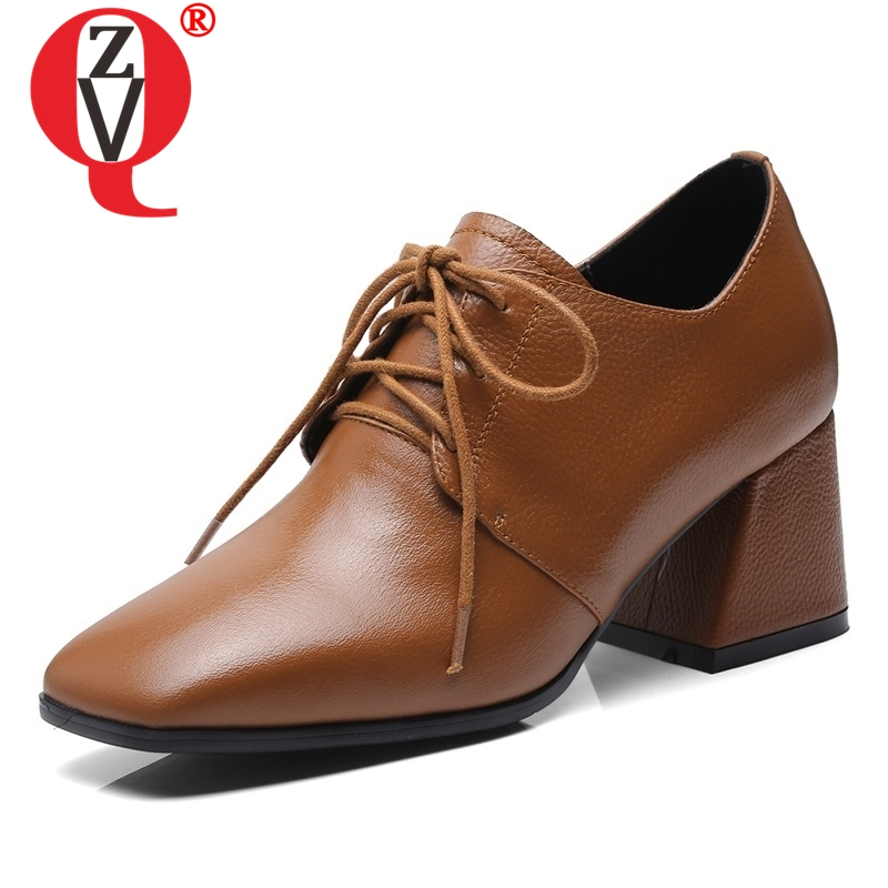 ZVQ shoes woman 2019 spring new concise cross-tied handmade genuine leather women pumps outside square toe black brown shoesZVQ shoes woman 2019 spring new concise cross-tied handmade genuine leather women pumps outside square toe black brown shoes