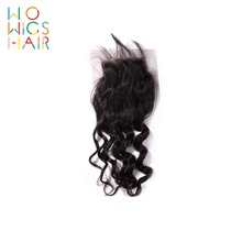 WoWigs Hair Deep Wave Lace Closure Remy Natural Color 100% Human Free Shipping