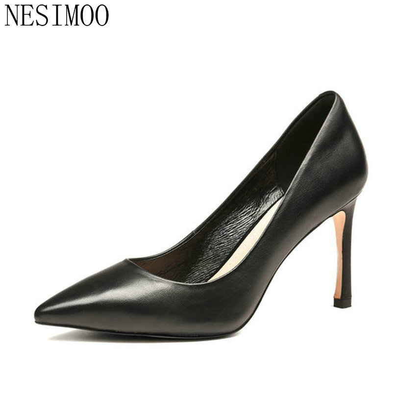 NESIMOO 2018 Women Pumps Pointed Toe Thin High Heel Genuine Leather Slip on Ladies Wedding Shoes Slip on Size 34-39 nayiduyun women genuine leather wedge high heel pumps platform creepers round toe slip on casual shoes boots wedge sneakers