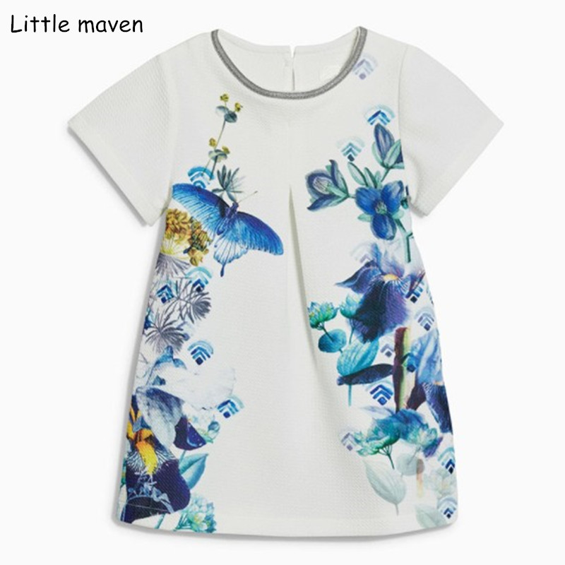 Little maven 2018 new summer baby girls brand dress kids Cotton butterfly flower print short sleeve dresses S0309 vikita brand new girl dresses 100% cotton girls butterfly cartoon dress toddlers summer short sleeve patchwork dresses sh4554