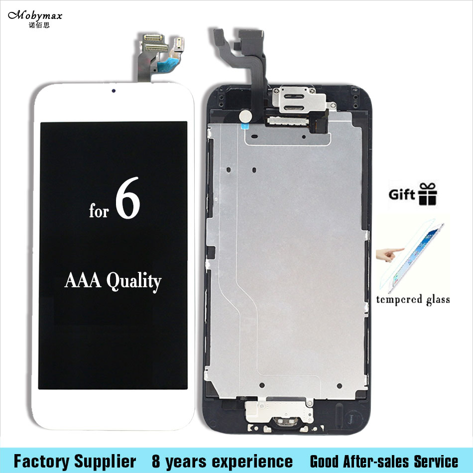 AAA quality For iPhone 6 LCD Touch Screen Digitizer Complete Assembly with front camera + sensor flex + home button