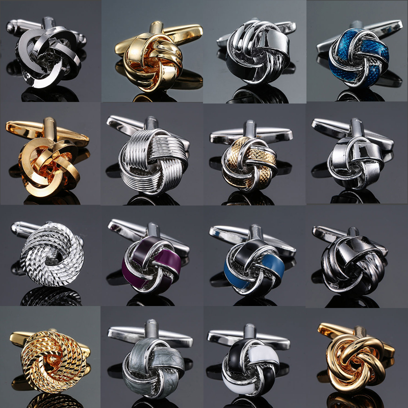 Factory Direct Sale Men French Shirt Cufflinks Wholesale Quality Copper Material Gold Silver Blue Black Purple Twist CuffLinks