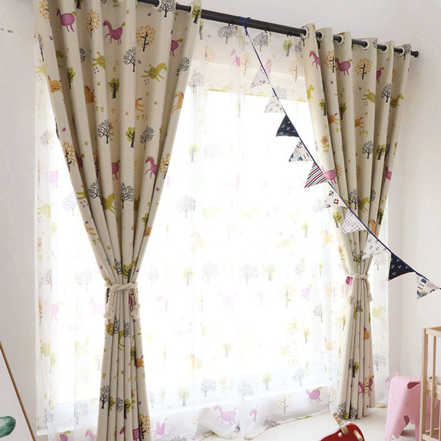 cute curtains for living room with corner fireplace images cartoon boys girls bedroom blackout kids horse print tulle curtain children window drapes