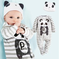 Panda Baby Rompers Caps Boys Clothing Set Toddler Hat One-Pieces Suits Overall Grey Stripe Long Sleeve Pajamas