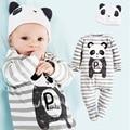 Panda Mamelucos Del Bebé Gorras Muchachos Determinados de la Ropa Del Niño Del Sombrero de Una Pieza-Trajes Generales Raya Gris de Manga Larga Pijamas