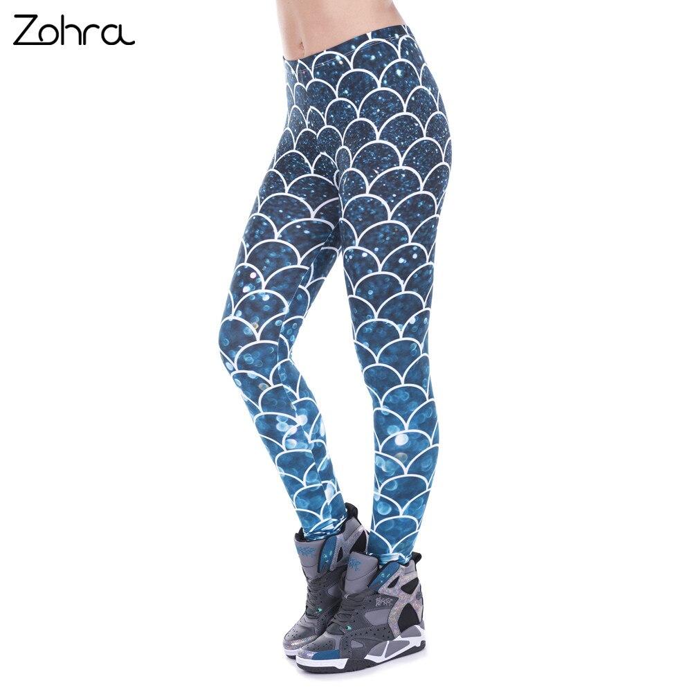Zohra mode frauen leggings meerjungfrau glitter gedruckt legging sexy silm fit legins hohe taille elastische frauen hosen 100% marke neue