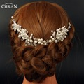 Chran Faux Pearl Wedding Hair Combs Long Crown Tiaras Bridal Silver Color Hair Vine Halo Headband Boho Headpiece Accessories