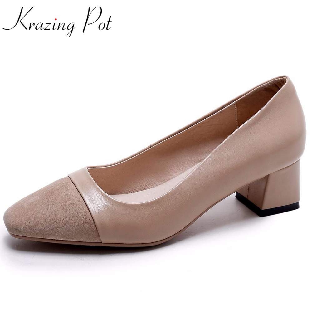 Krazing pot Summer full grain leather thick med heels shallow pumps square toe mixed color superstar brand increased shoes L04Krazing pot Summer full grain leather thick med heels shallow pumps square toe mixed color superstar brand increased shoes L04