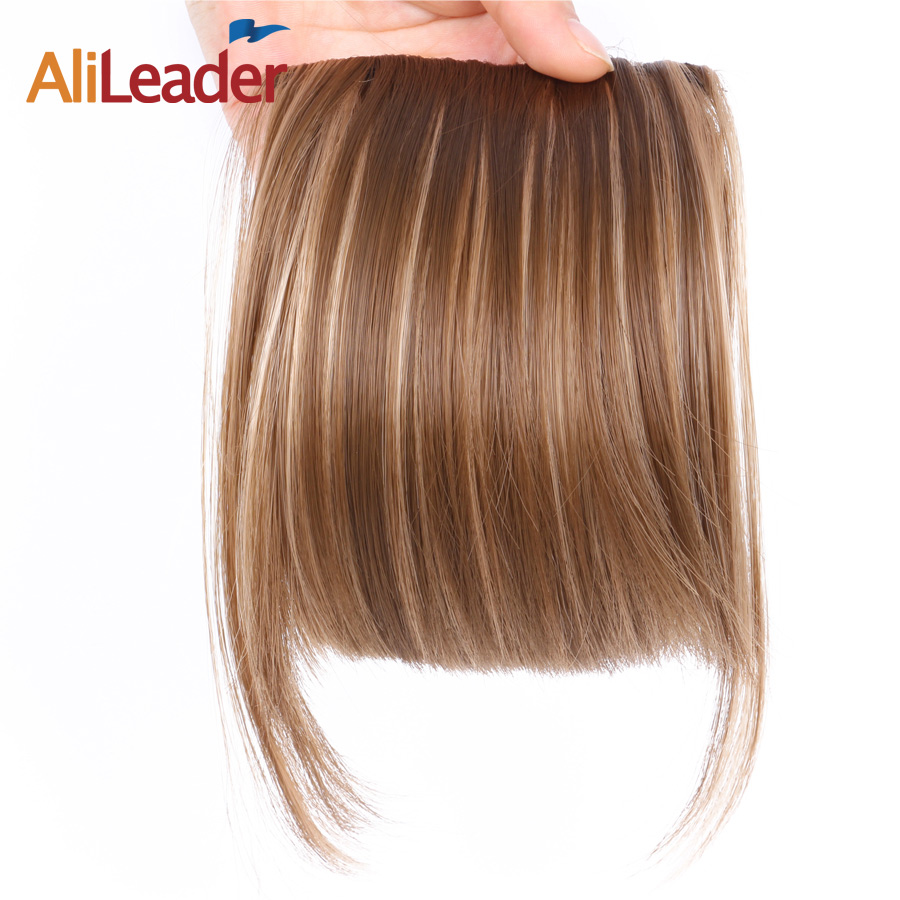 AliLeader Fake Fringe Bangs Clip Ons 6 Inch Short Straight Front Neat Wedding Synthetic Hair Pieces Bangs For Women