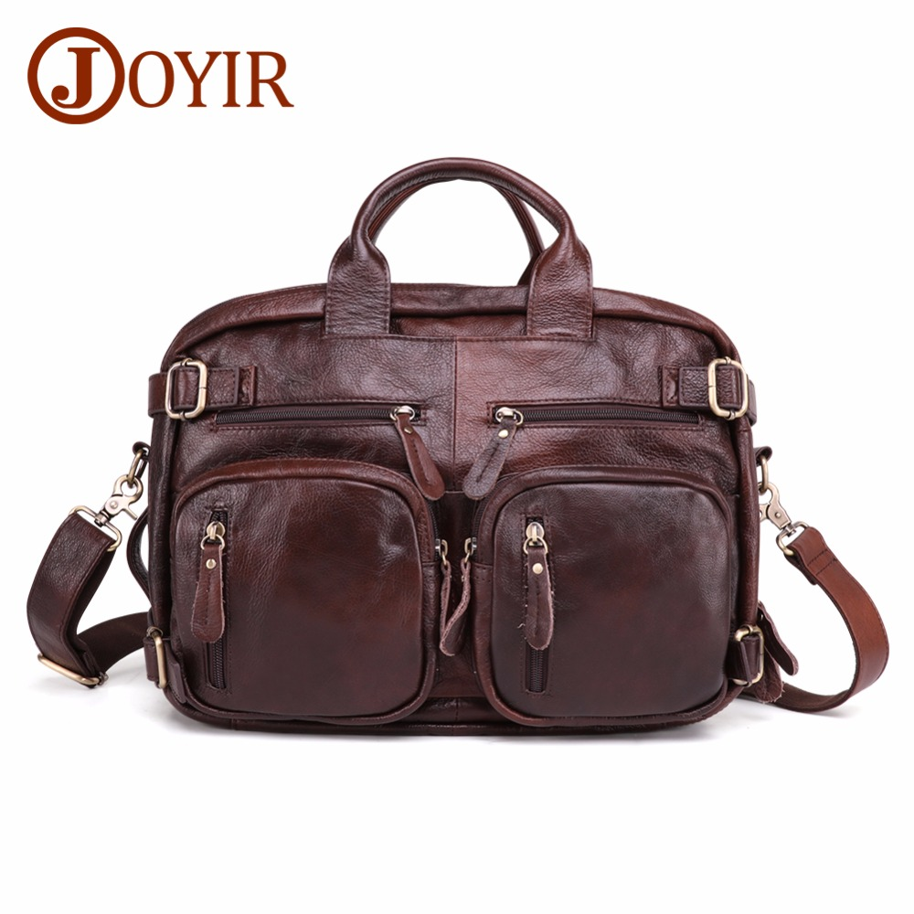 JOYIR Men's Genuine Leather Briefcase Laptop Tote Bag Multifunction Men Business Travel Bags Soft Leather Briefcase For Men 2019
