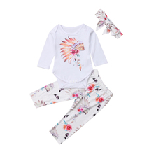 Pudcoco Newborn Baby Girls Tops Romper Floral Pants Headband 3PCS Soft Cotton Girl Clothes Set new