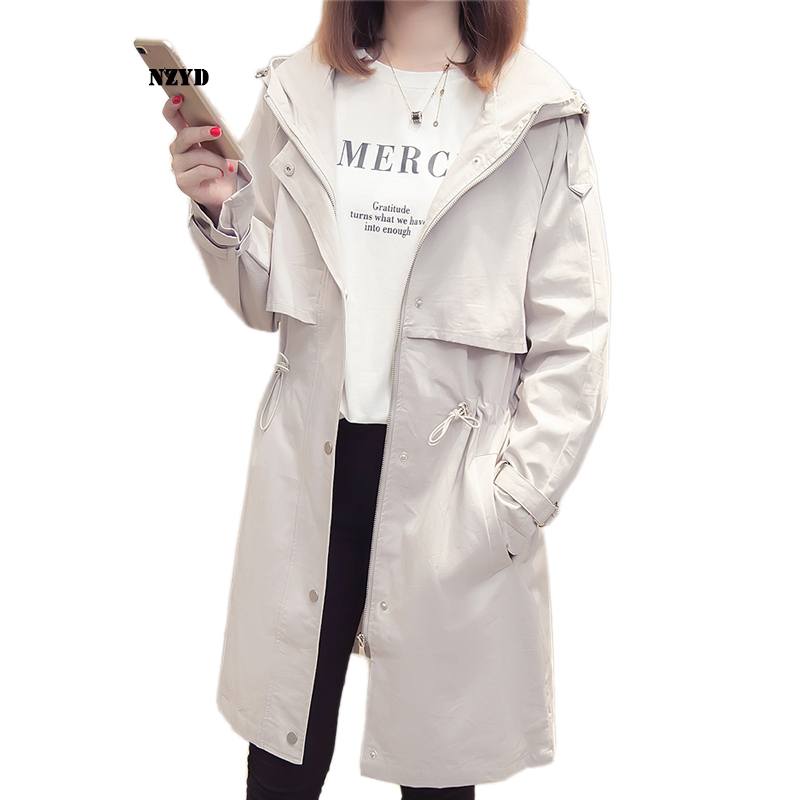 Women Spring Autumn   Trench   Coat New Style Fashion Mid-long Hooded Solid color Windbreaker Causal Loose Large size Coat NZYD64A
