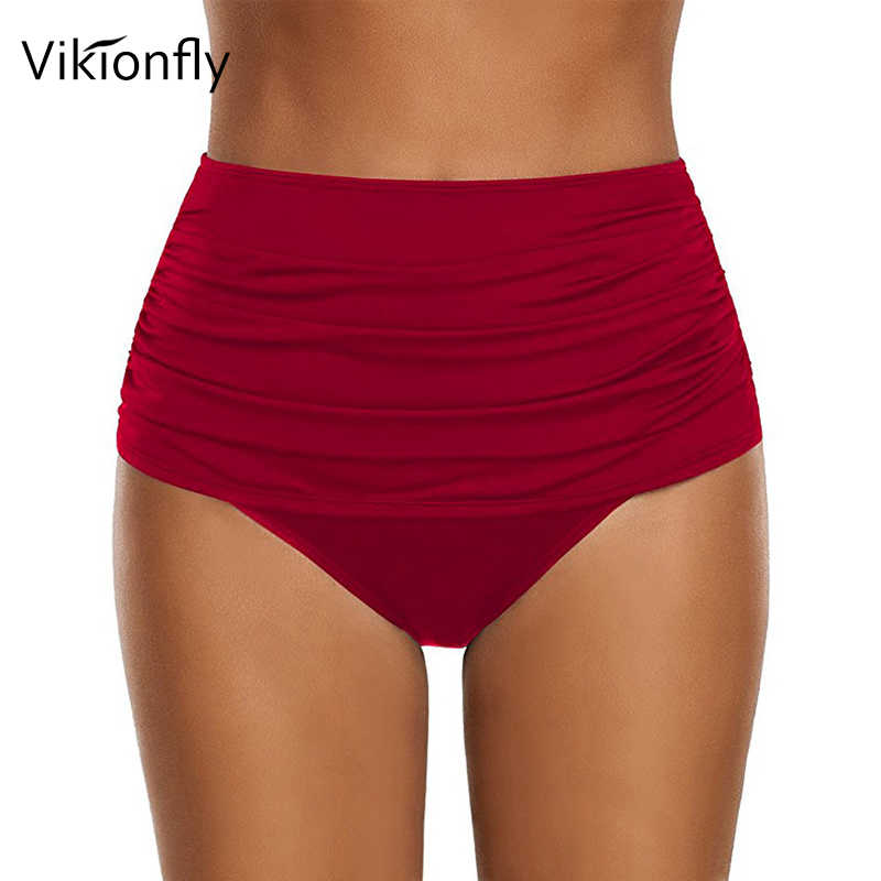 039d1ea2ee3 ... Vikionfly Plus Size Women's Bikini Bottoms High Waisted Swimsuit  Swimwear Panties For Ladies Ruched Swim Shorts ...