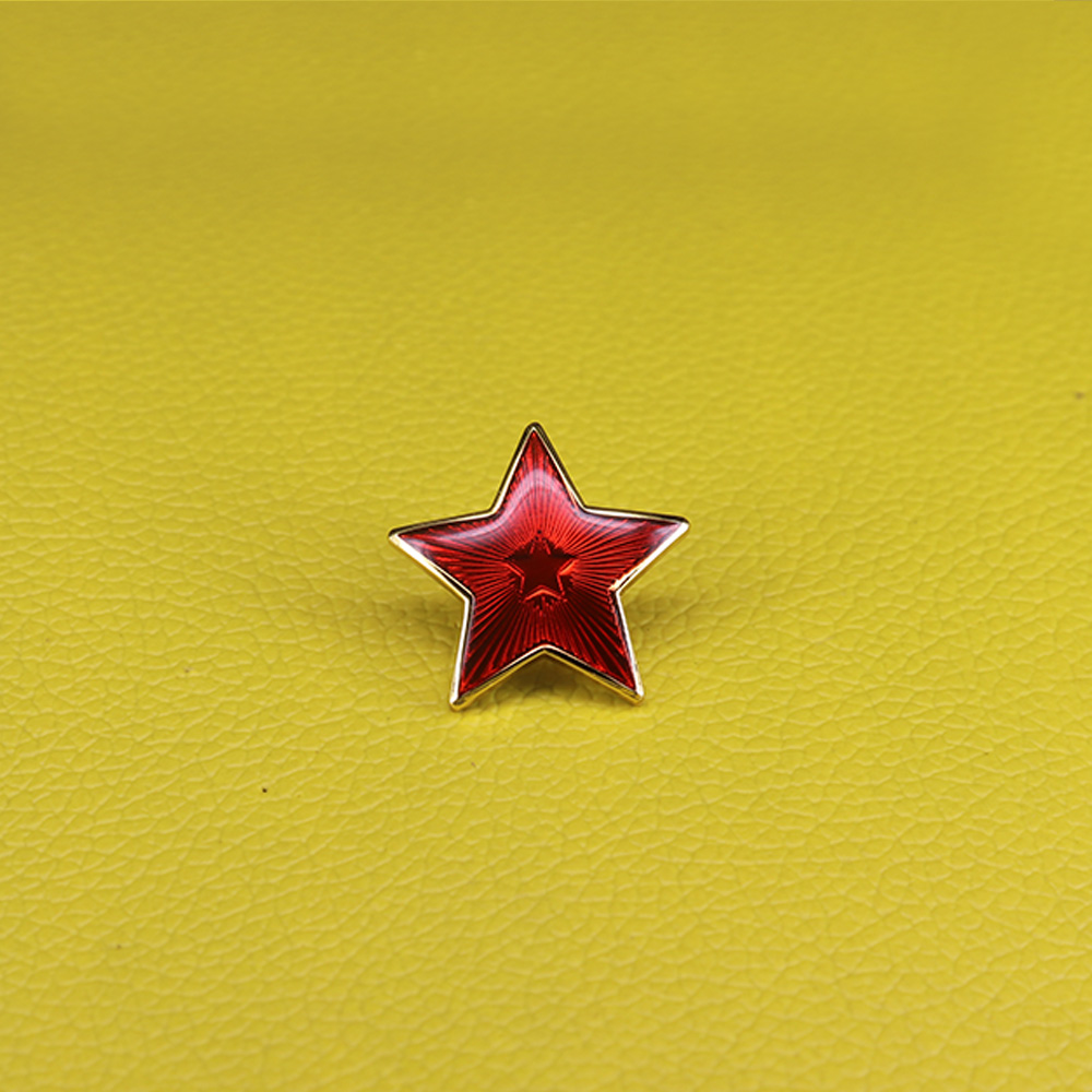 Vintage Soviet red star pin USSR Communist symbol red army stars badge military army uniform brooch for men jewelry(China)
