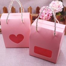 10pcs Pink Paper Clear Window Box multi color Paper Candy Boxes With Handle Snack Cookie Chocolates Gifts box for wedding(China)