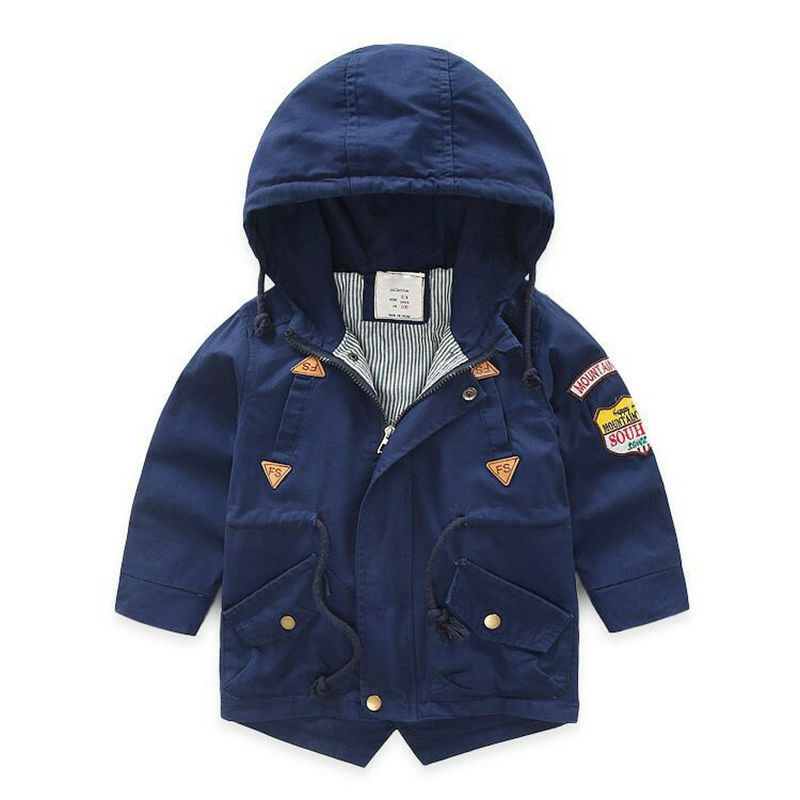 Boys windbreaker Autumn and winter   trench   3-10 Y cotton Korean jacket hot sale Drawstring belt coat PU stitching armband outwear