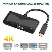 USB C Tipo C a HDMI VGA 3.5mm Audio Adattatore 3 in 1 USB 3.1 USB-C Cavo del Convertitore per il Computer Portatile Macbook Google