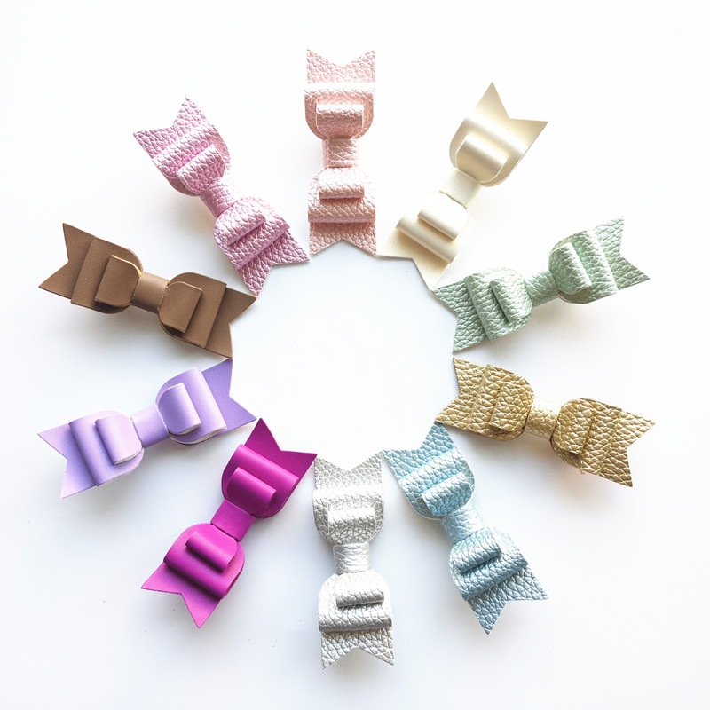 10pcs/lot 9cm Fluorescent Peach Kid Hair Bow Barrette Three Layers Artificial Leather Bow Hairpin for Teens Purple Classic Clips