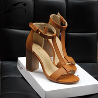 Plus Size 40 Women S Shoes Summer 2016 European PU T Strap Square High Heels Sandals