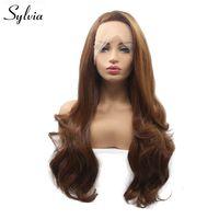 Sylvia коричневый парик боковая часть длинное тело волны волос Синтетические парики для Для женщин жаропрочных полный руки связали натуральн